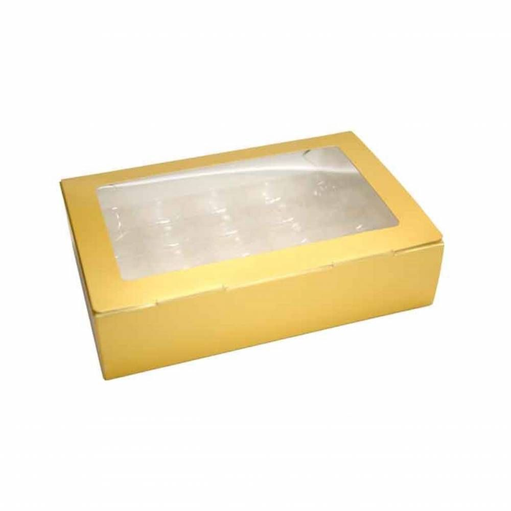 Boîte or mat 25 macarons 21,7 x 14,3 x 5,2 cm - Par 50