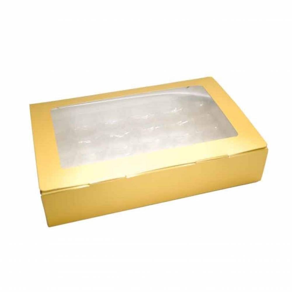 Boîte or mat 36 macarons 25,9 x 16,9 x 5,2 cm - Par 50