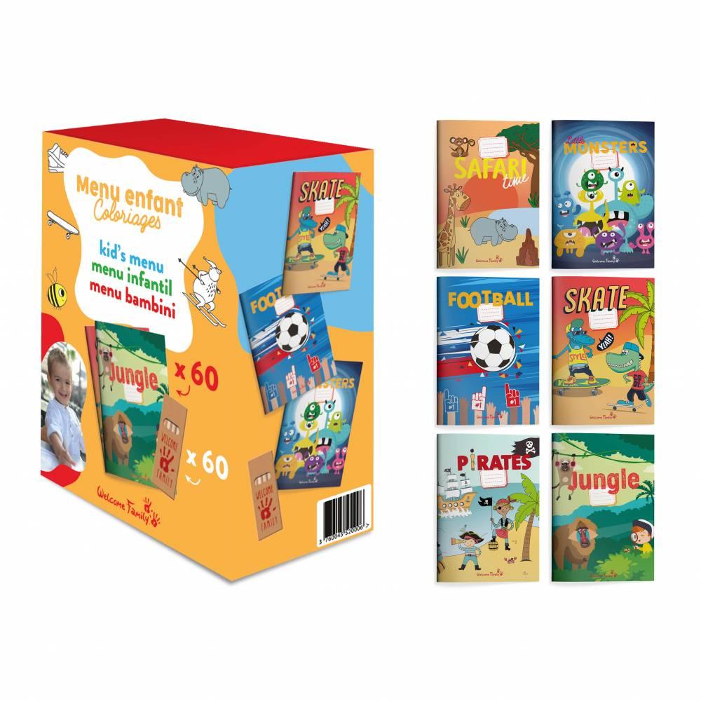 Cahiers de jeux et crayons Welcome Family - par 6 lots de 60