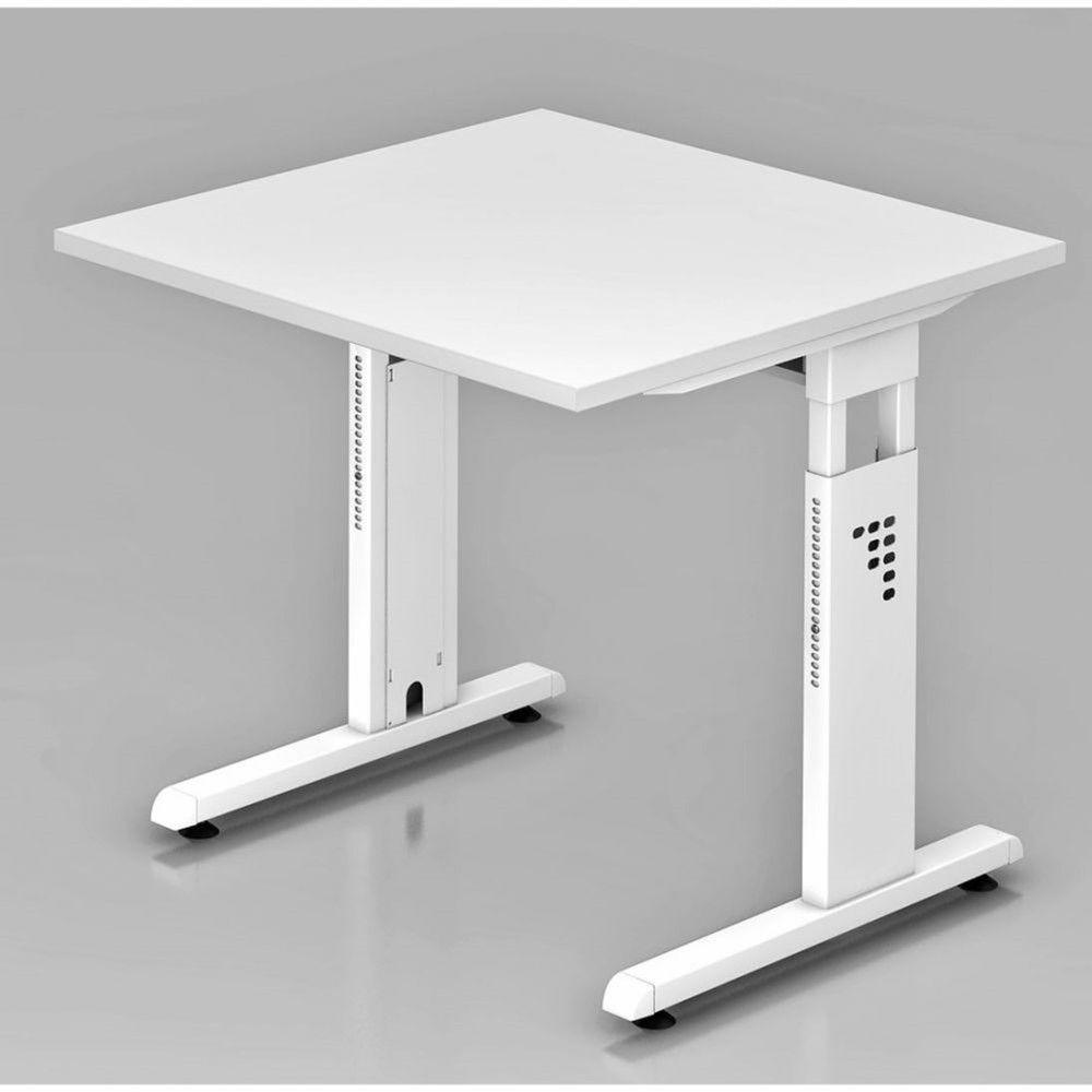 Bureau contemporain réglable Londonien / Blanc / 80 x 80 cm / Piétement blanc