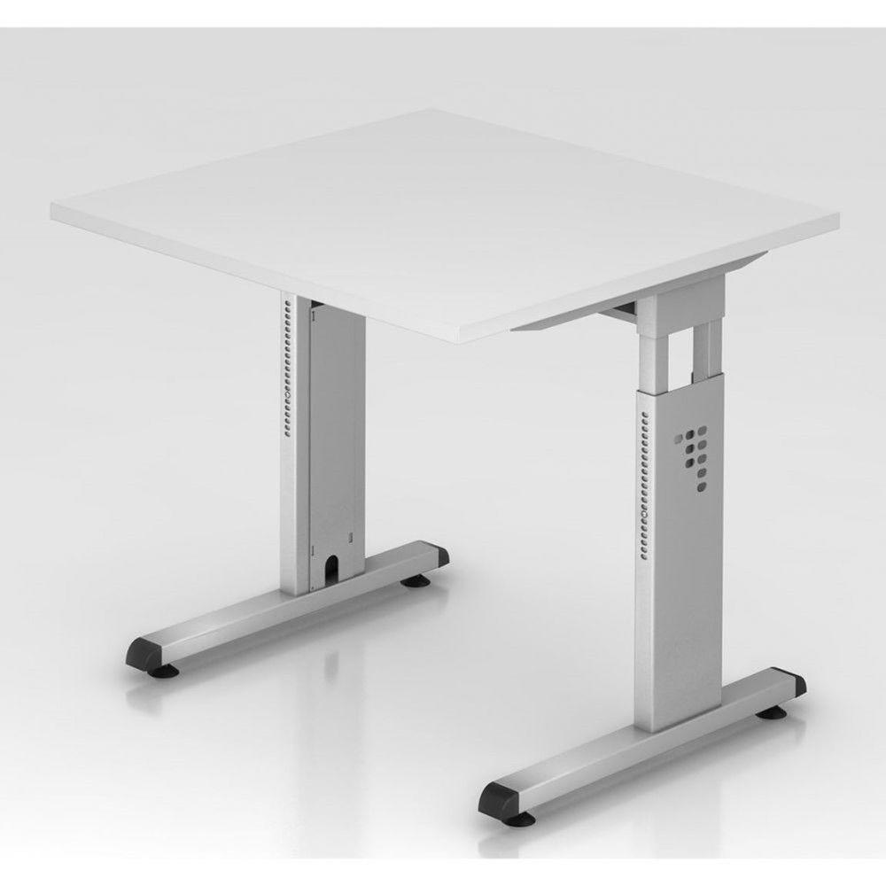 Bureau contemporain réglable Londonien / Blanc / 80 x 80 cm / Piétement argenté