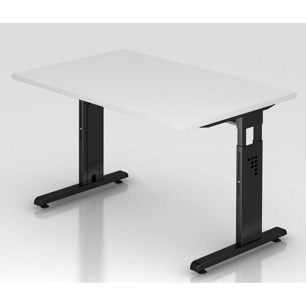 Bureau contemporain réglable Londonien / Blanc / 120 x 80 cm / Piétement noir