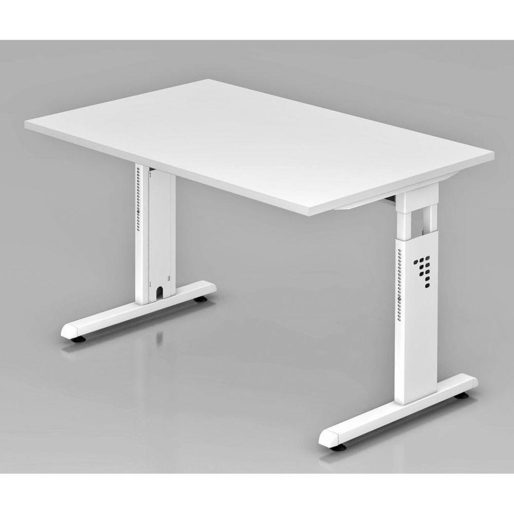 Bureau contemporain réglable Londonien / Blanc / 120 x 80 cm / Piétement blanc