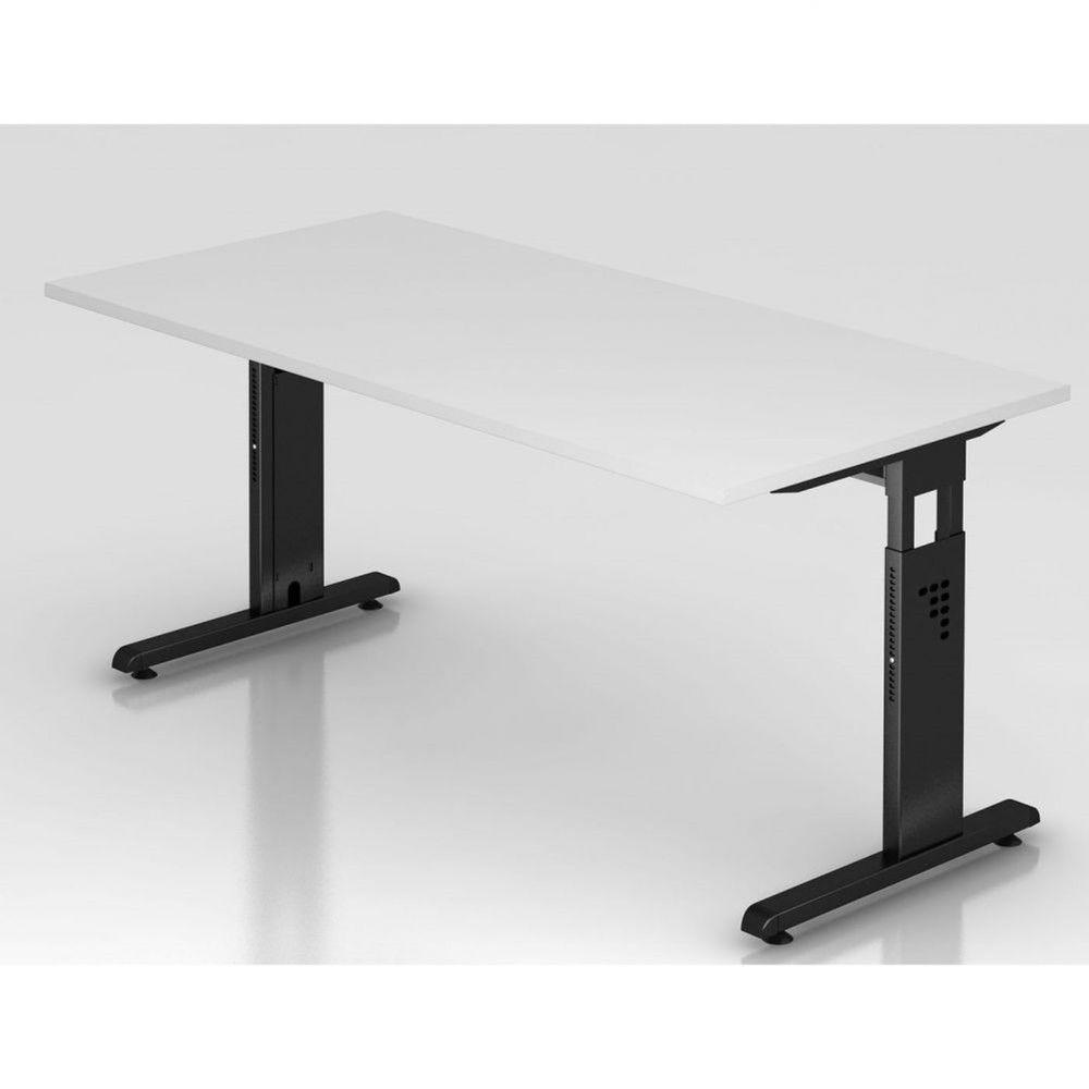 Bureau contemporain réglable Londonien / Blanc / 160 x 80 cm / Piétement noir