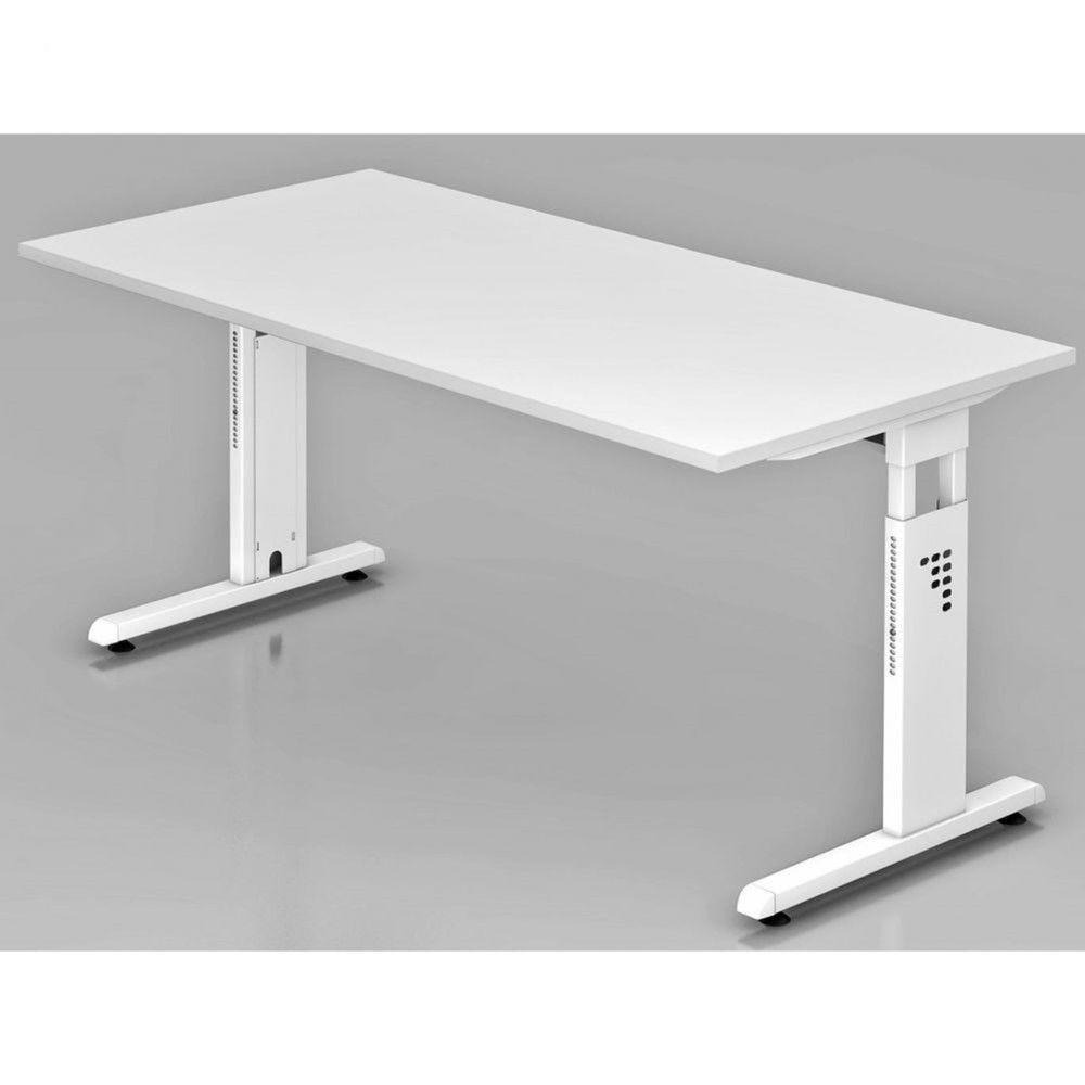 Bureau contemporain réglable Londonien / Blanc / 160 x 80 cm / Piétement blanc