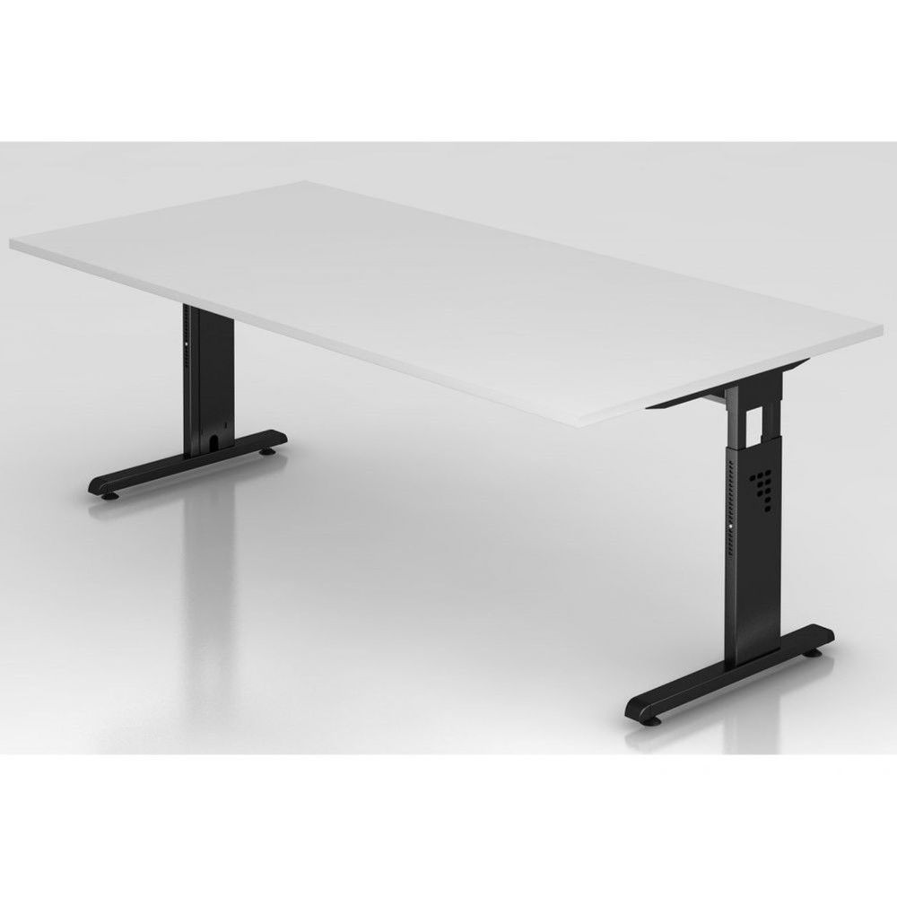 Bureau contemporain réglable Londonien / Blanc / 200 x 100 cm / Piétement noir