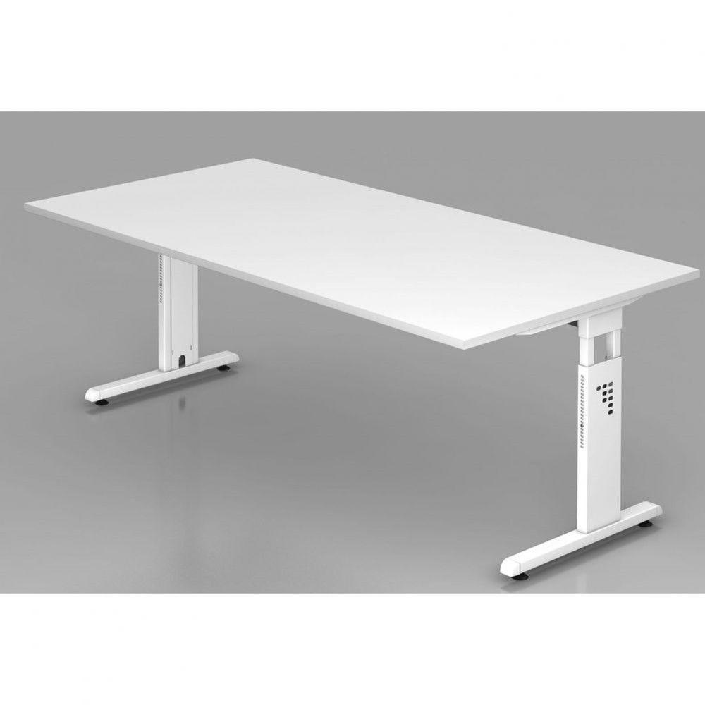 Bureau contemporain réglable Londonien / Blanc / 200 x 100 cm / Piétement blanc