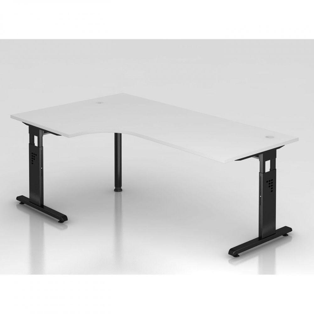 Bureau contemporain réglable Londonien / Blanc / 200 x 120 cm / Piétement noir