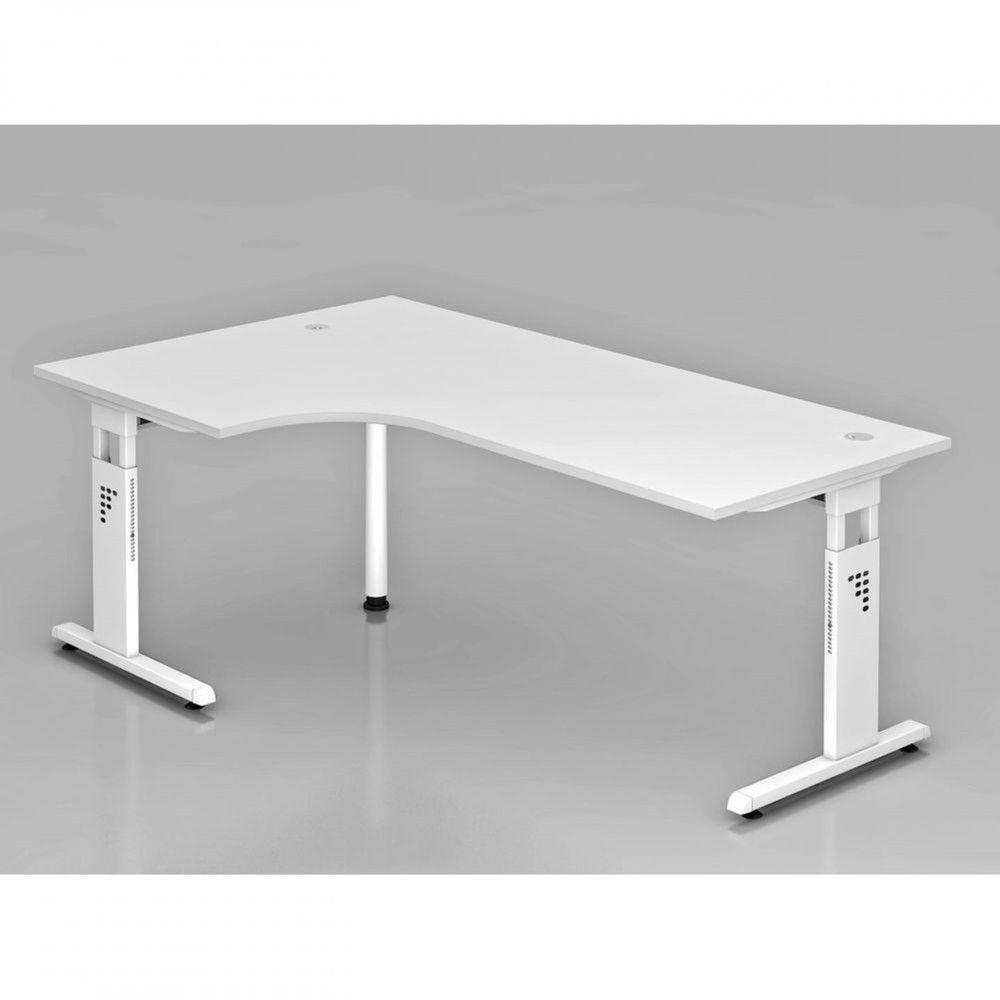 Bureau contemporain réglable Londonien / Blanc / 200 x 120 cm / Piétement blanc