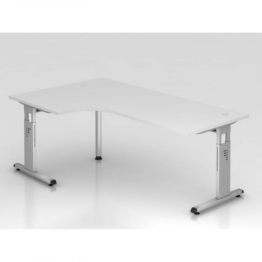 Bureau contemporain réglable Londonien / Blanc / 200 x 120 cm / Pieds argenté