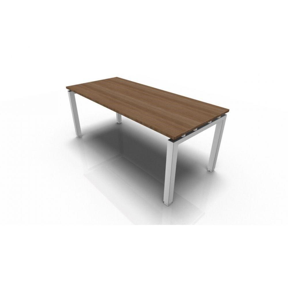 Bureau droit individuel contemp.Zelda / Acacia foncé / 120 x 80 cm / Pieds blanc