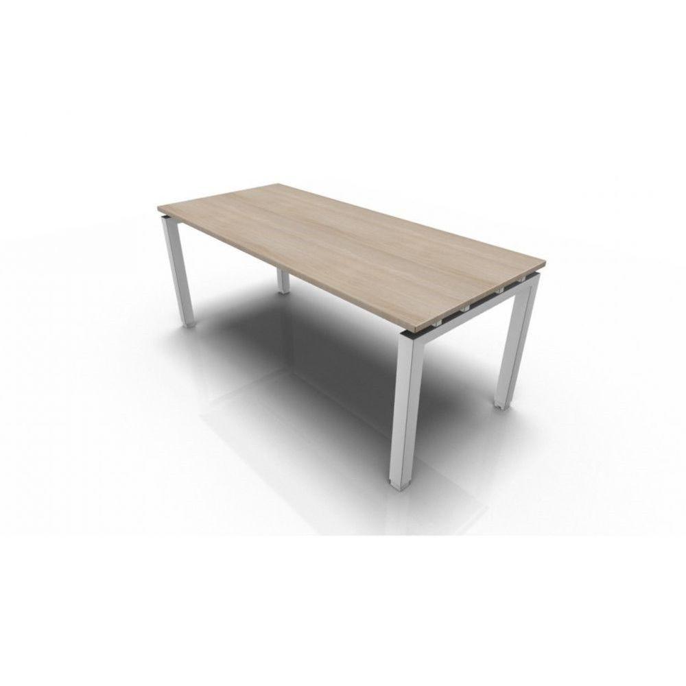 Bureau droit individuel contemp.Zelda / Acacia clair / 180 x 80 cm / Pieds blanc