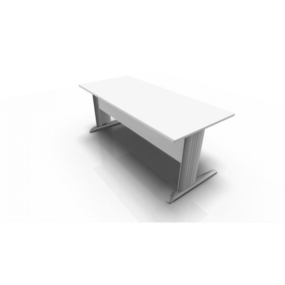 Bureau droit individuel contemp.Maldive / Blanc / 140 x 80 cm / Pieds argenté