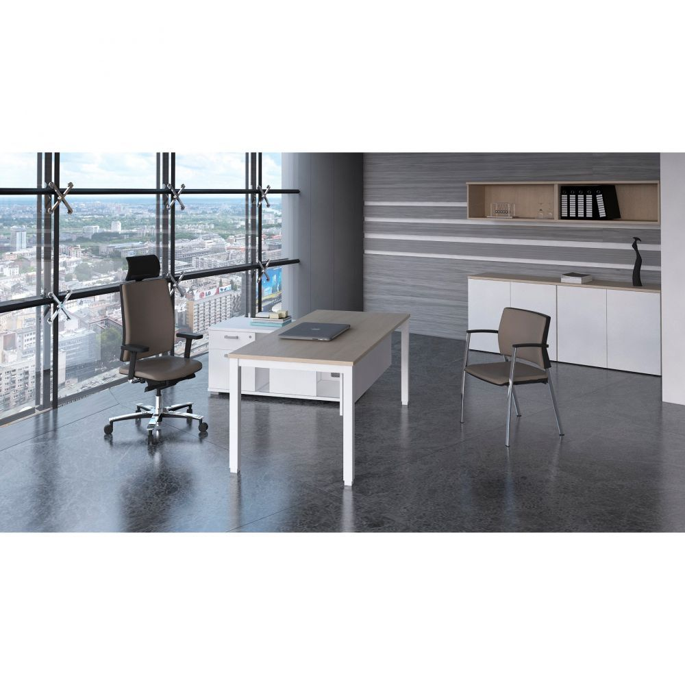 Bureau droit individuel contemp.Rythmo / Poirier / 120 x 80 cm / Pieds blanc