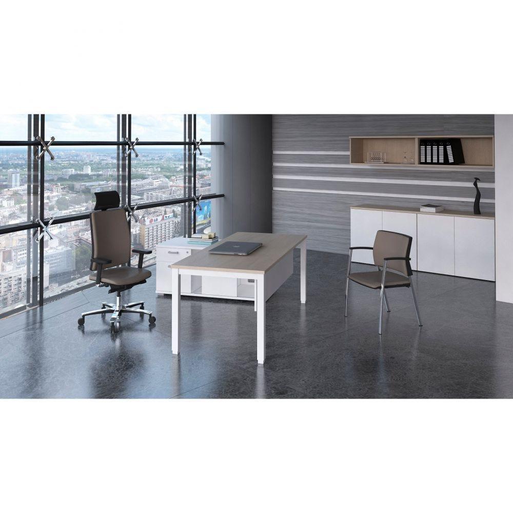 Bureau droit individuel contemp.Rythmo / Poirier / 160 x 80 cm / Pieds blanc