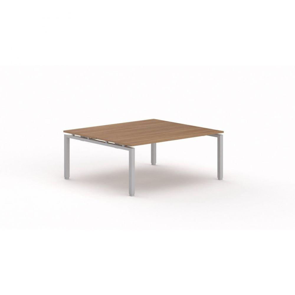 Bureau bench contemporain Zelda / Poirier / Longueur 180 cm / Piétement argenté