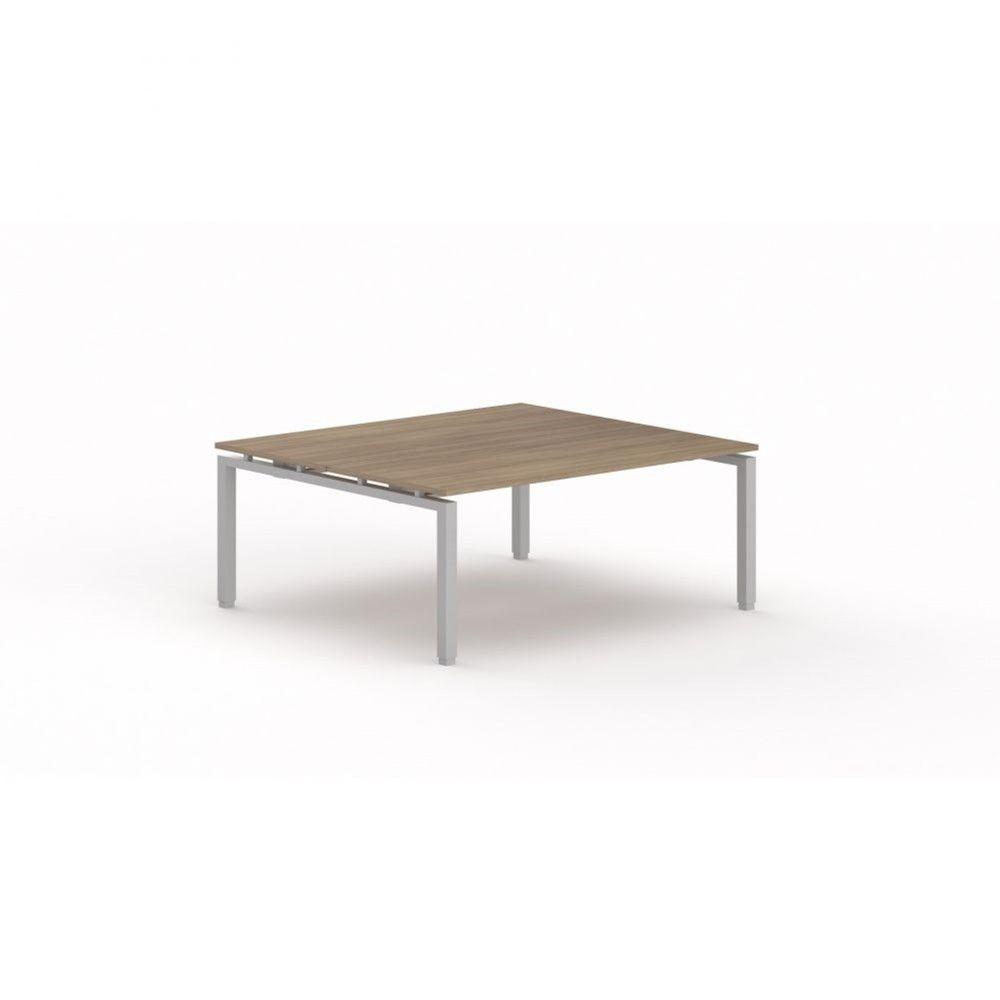 Bureau bench contemporain Zelda / Acacia foncé / Longueur 180 cm / Pieds argenté
