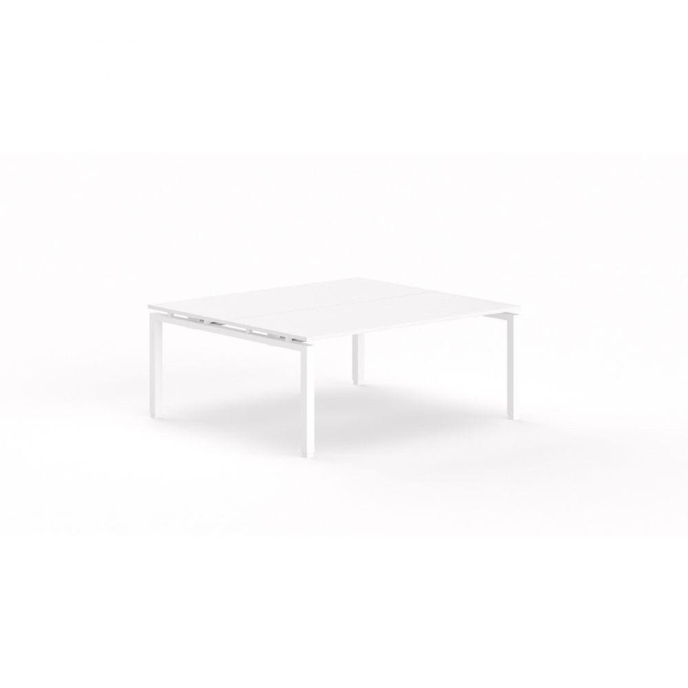 Bureau bench contemporain Zelda / Blanc / Longueur 180 cm / Piétement blanc