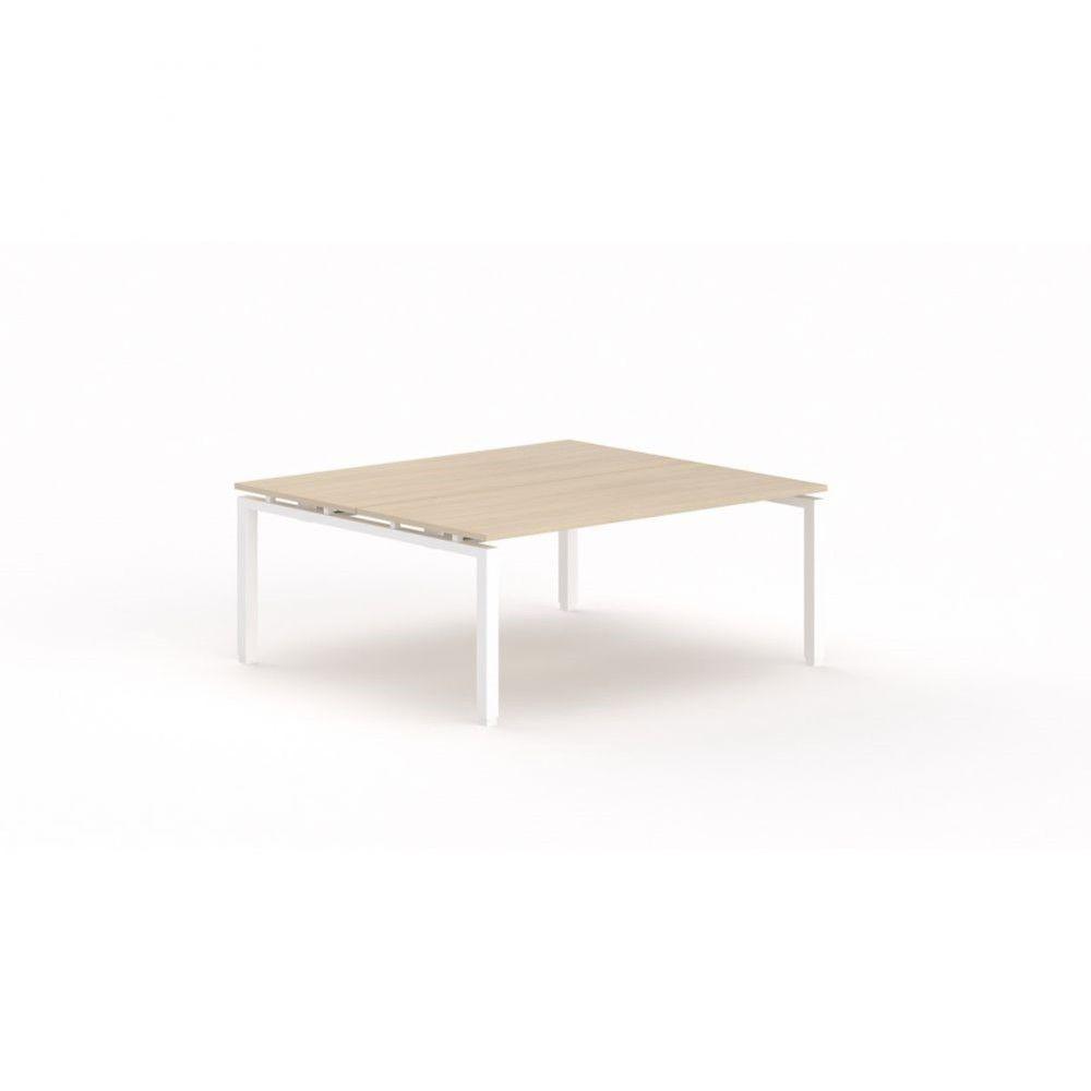 Bureau bench contemporain Zelda / Chêne moyen / Longueur 180 cm / Pieds blanc