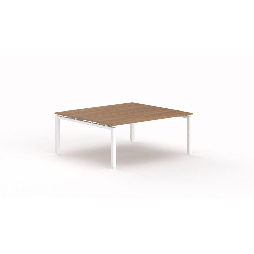 Bureau bench contemporain Zelda / Poirier / Longueur 180 cm / Piétement blanc
