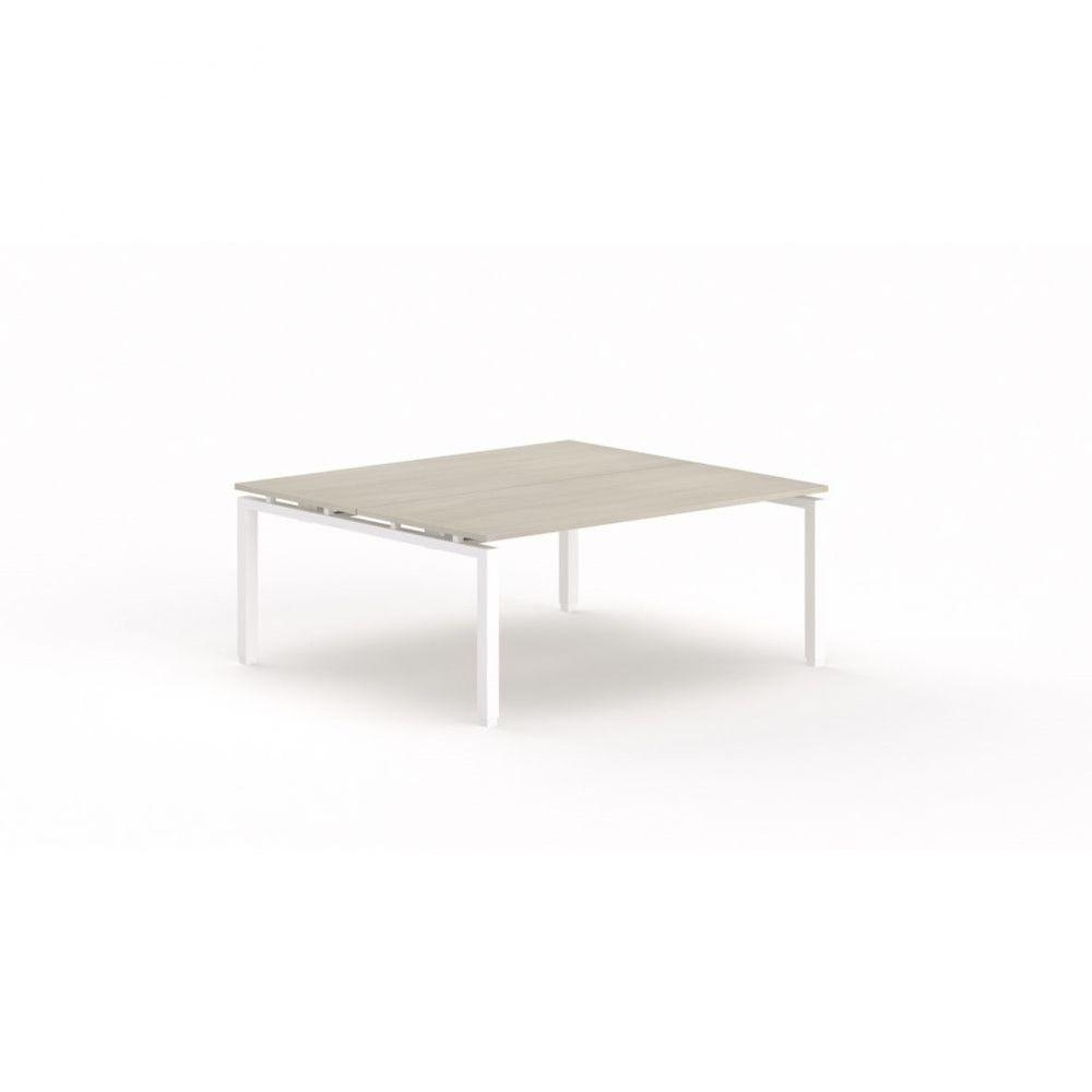 Bureau bench contemporain Zelda / Acacia clair / Longueur 180 cm / Pieds blanc