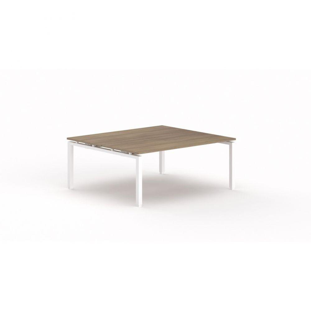 Bureau bench contemporain Zelda / Acacia foncé / Longueur 180 cm / Pieds blanc