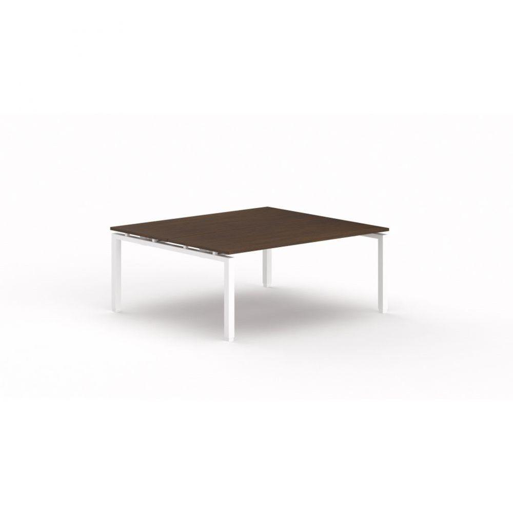 Bureau bench contemporain Zelda / Zebrano / Longueur 180 cm / Piétement blanc
