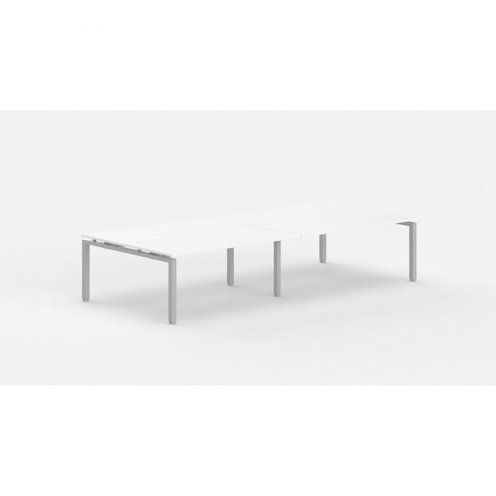 Bureau bench contemporain Zelda / Blanc / Longueur 360 cm / Piétement argenté