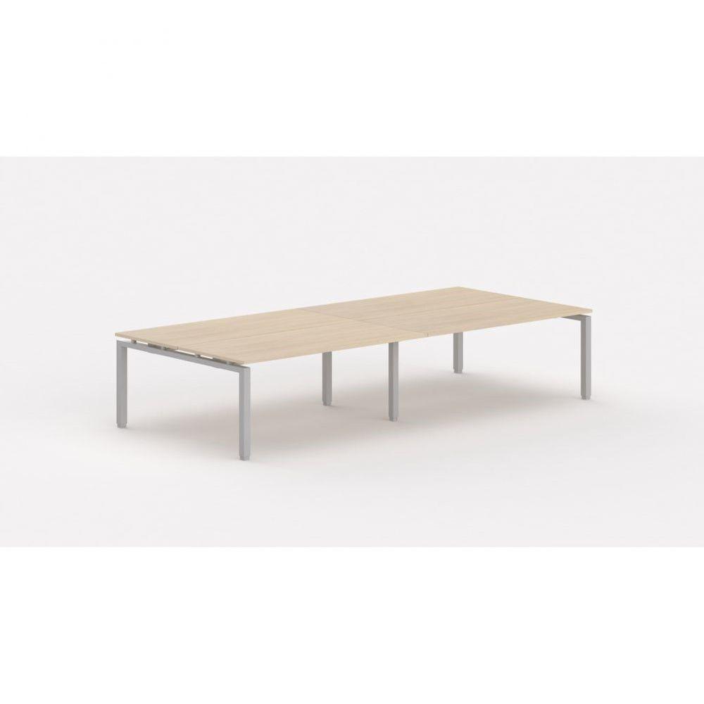 Bureau bench contemporain Zelda / Chêne moyen / Longueur 360 cm / Pieds argenté