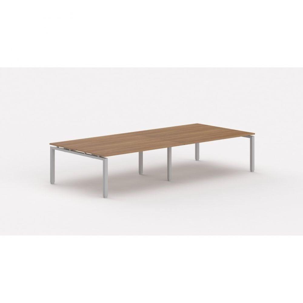 Bureau bench contemporain Zelda / Poirier / Longueur 360 cm / Piétement argenté