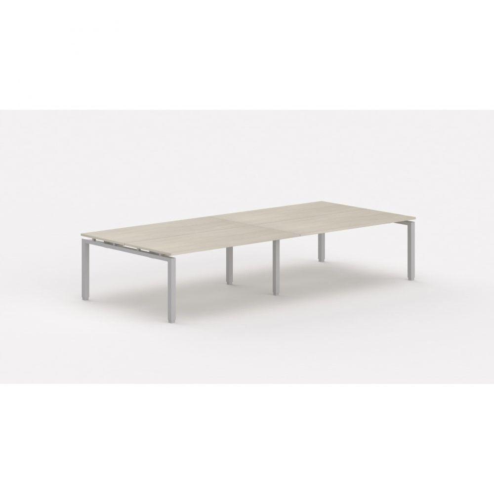 Bureau bench contemporain Zelda / Acacia clair / Longueur 360 cm / Pieds argenté