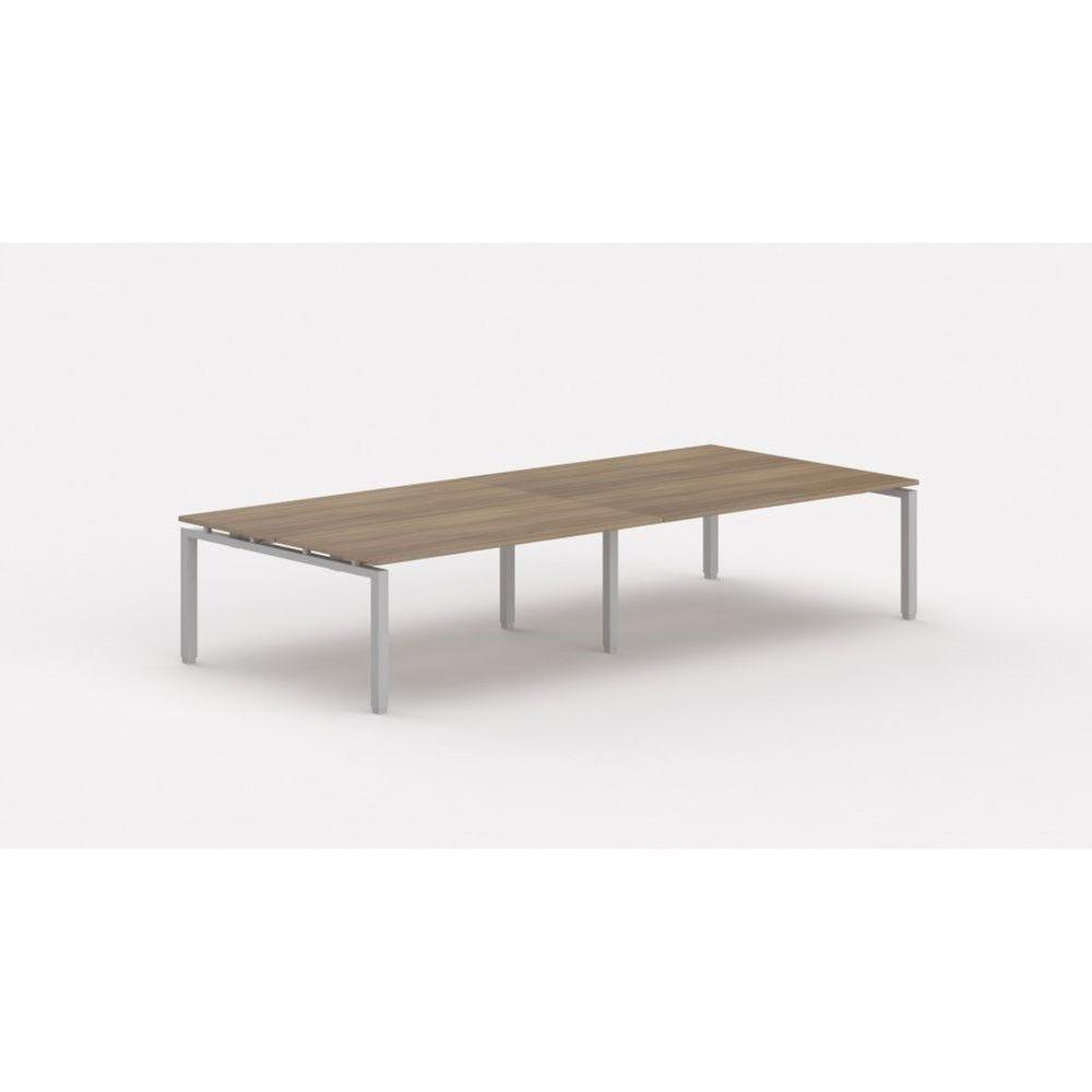 Bureau bench contemporain Zelda / Acacia foncé / Longueur 360 cm / Pieds argenté