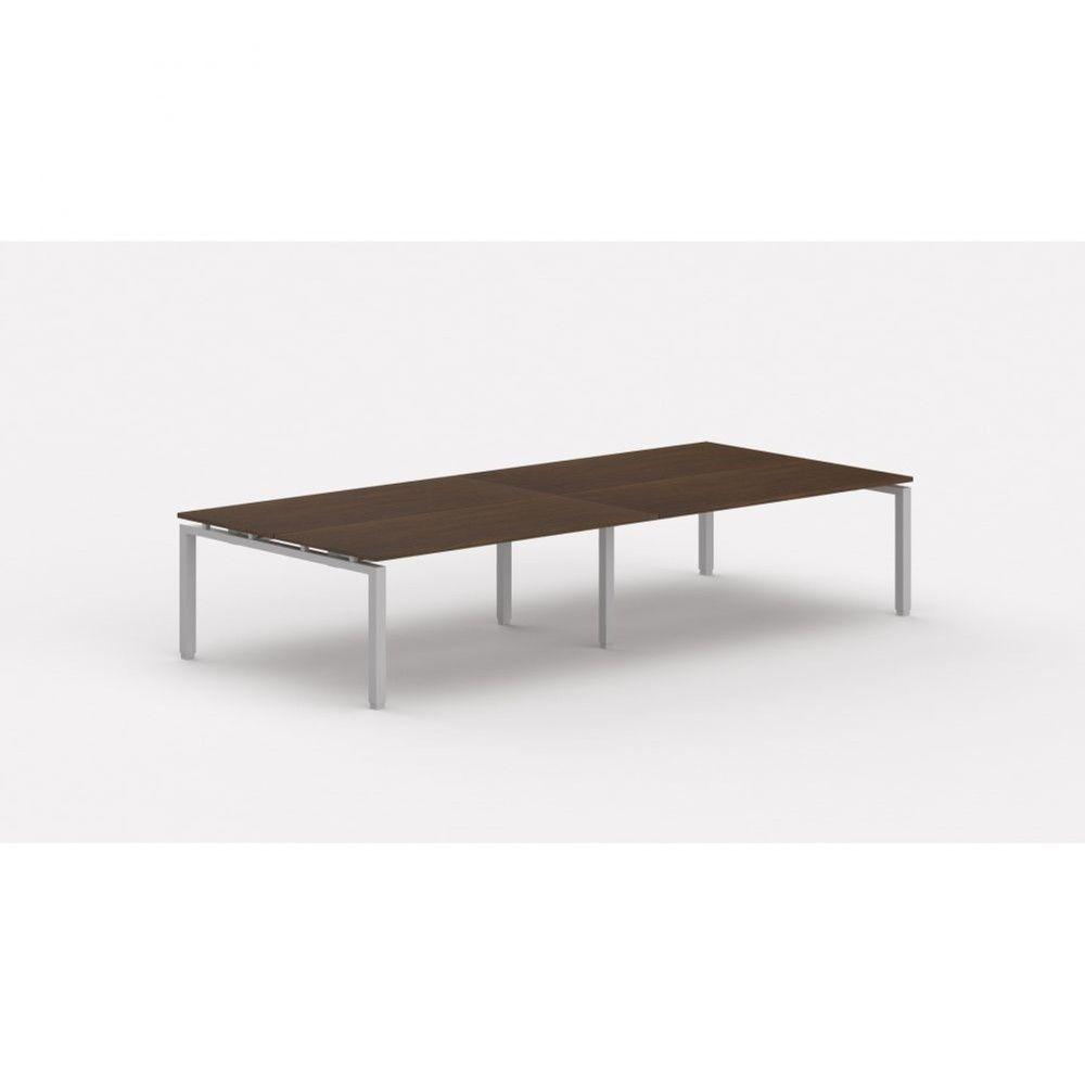 Bureau bench contemporain Zelda / Zebrano / Longueur 360 cm / Piétement argenté