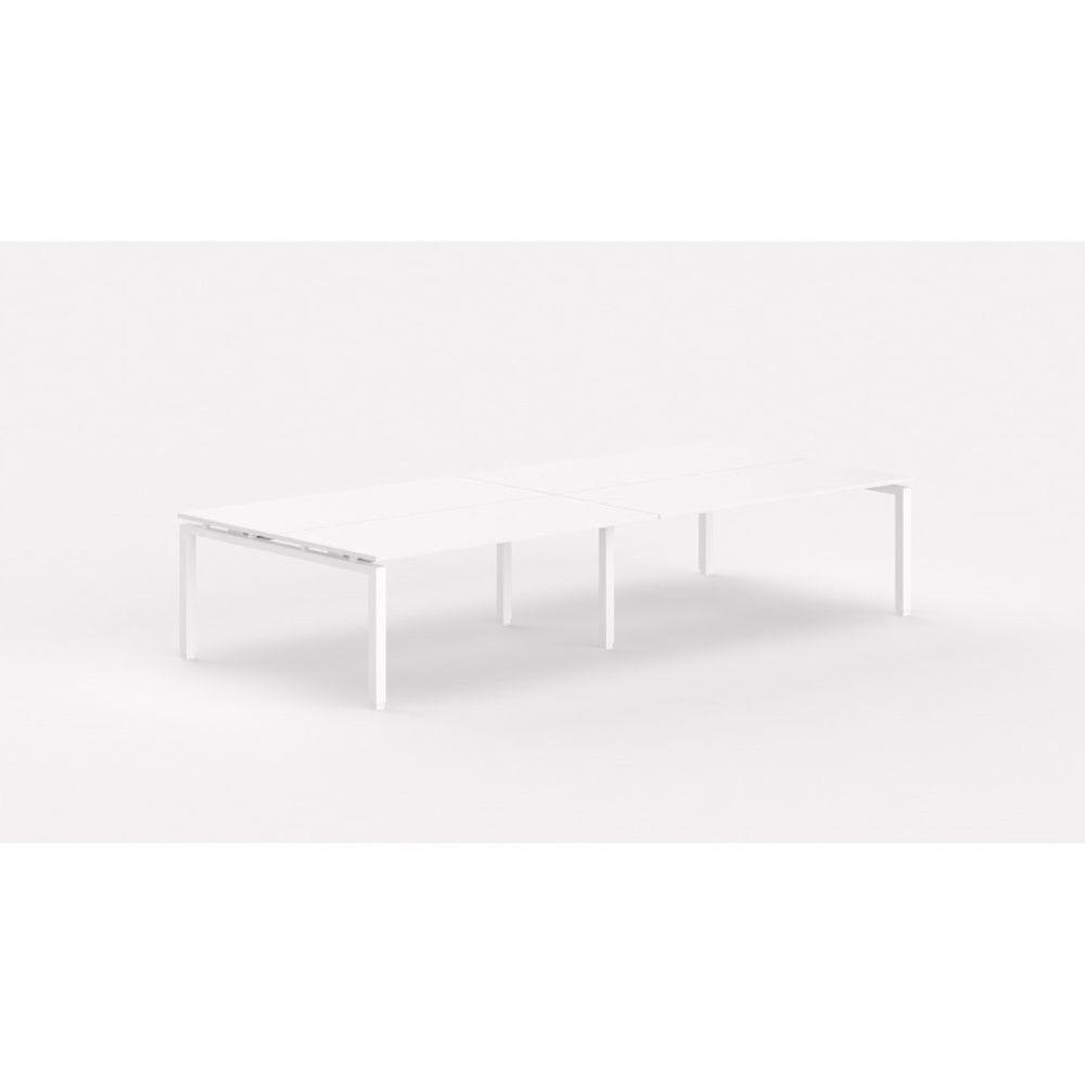 Bureau bench contemporain Zelda / Blanc / Longueur 360 cm / Piétement blanc