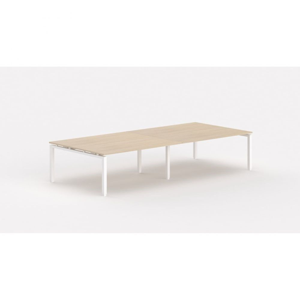 Bureau bench contemporain Zelda / Chêne moyen / Longueur 360 cm / Pieds blanc