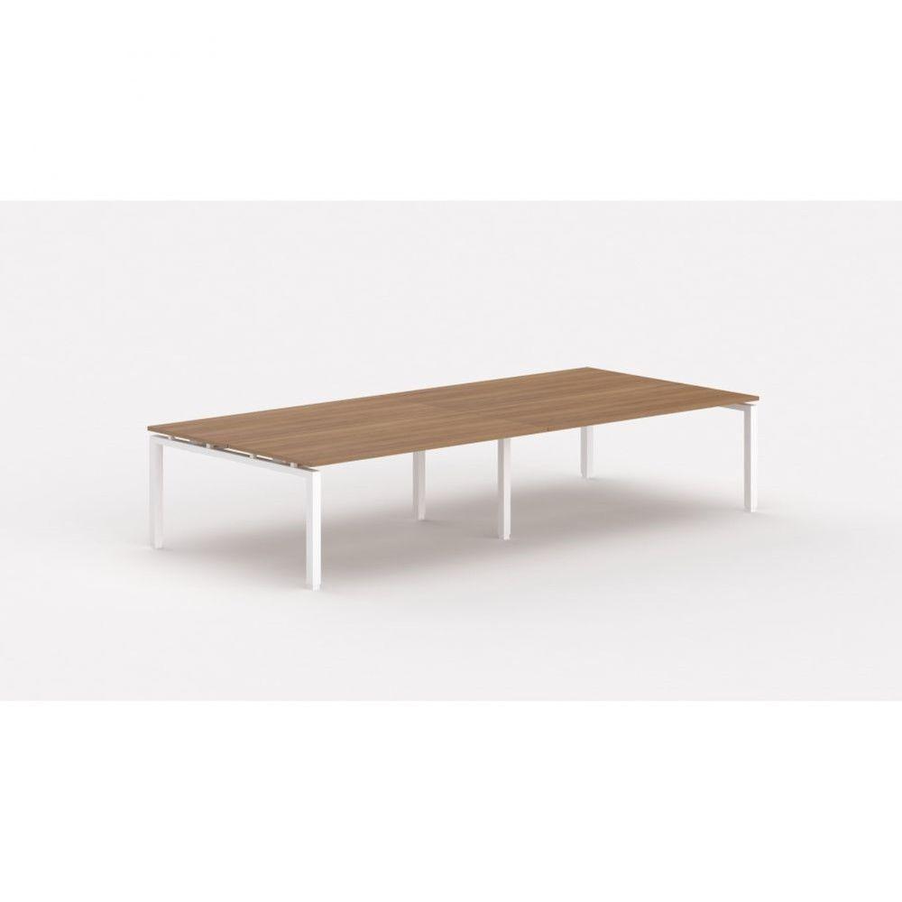 Bureau bench contemporain Zelda / Poirier / Longueur 360 cm / Piétement blanc