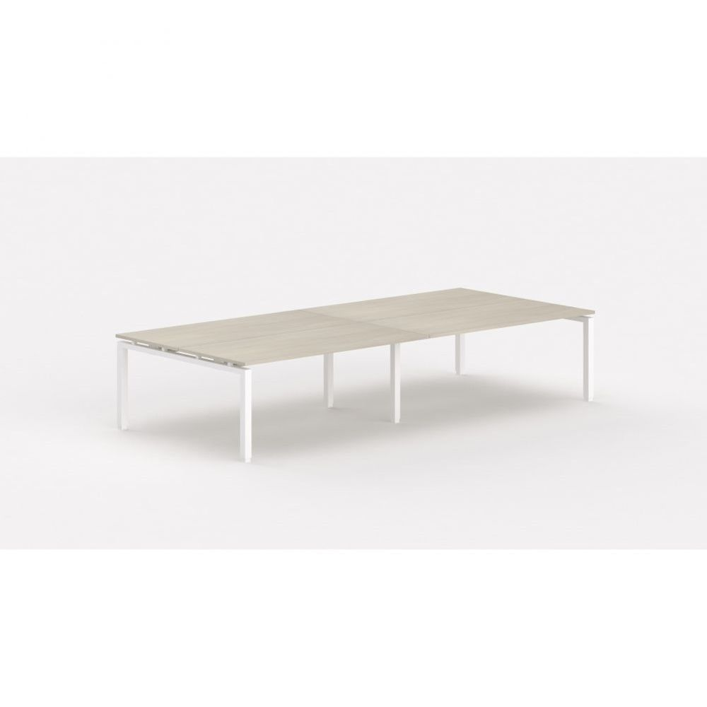 Bureau bench contemporain Zelda / Acacia clair / Longueur 360 cm / Pieds blanc