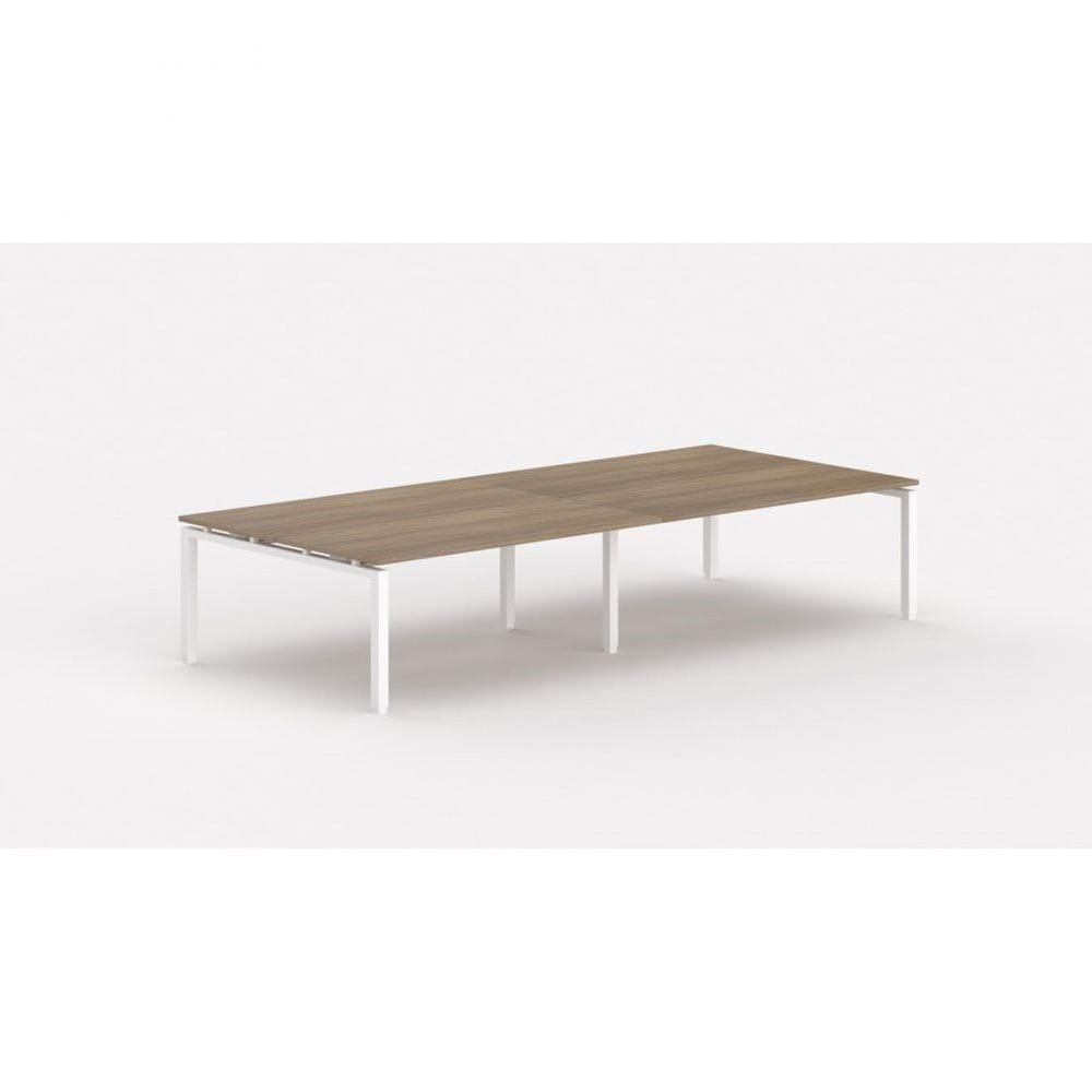 Bureau bench contemporain Zelda / Acacia foncé / Longueur 360 cm / Pieds blanc