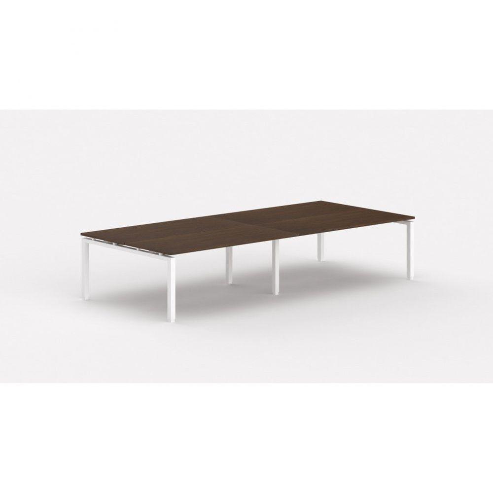 Bureau bench contemporain Zelda / Zebrano / Longueur 360 cm / Piétement blanc