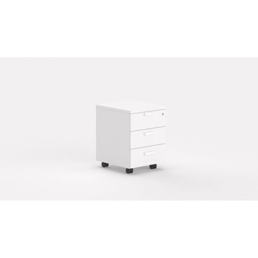 Caisson de bureau contemporain avec roulettes Opaline I / Blanc / 3 tiroirs