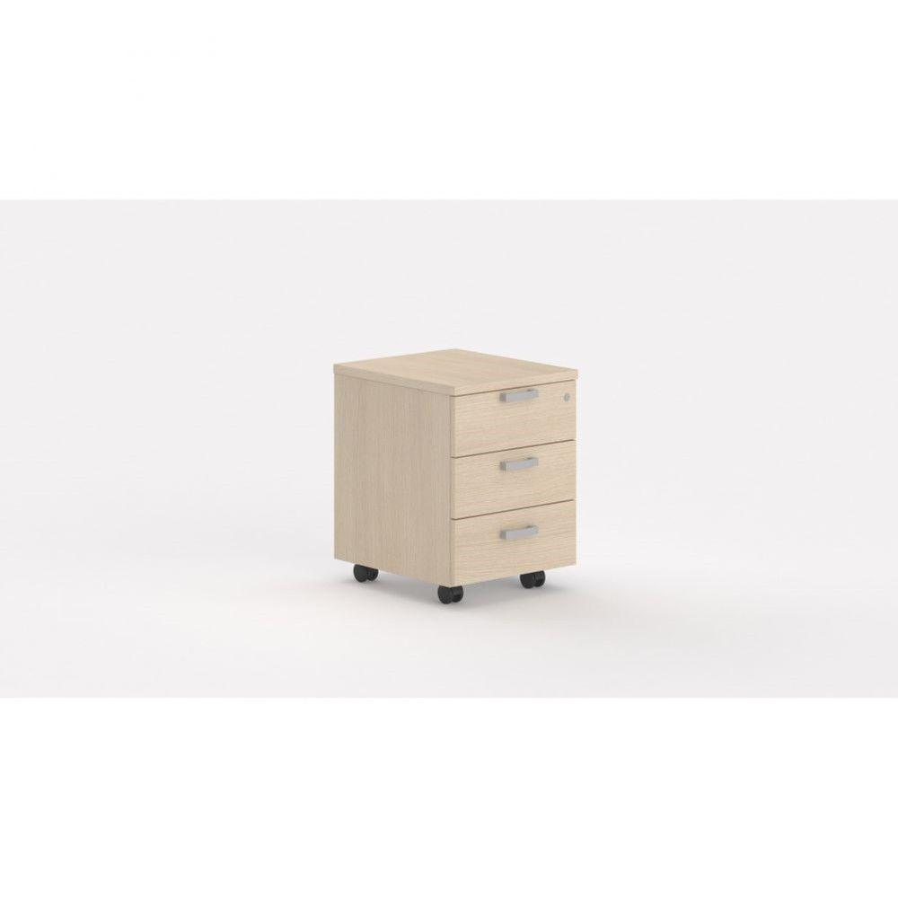 Caisson de bureau contemp.avec roulettes Opaline I / Chêne moyen / 3 tiroirs