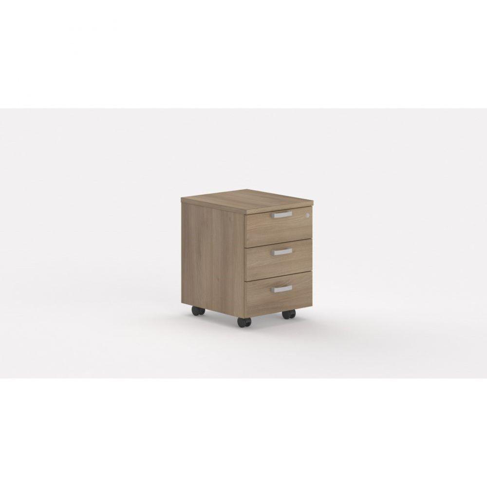 Caisson de bureau contemp.avec roulettes Opaline I / Acacia foncé / 3 tiroirs