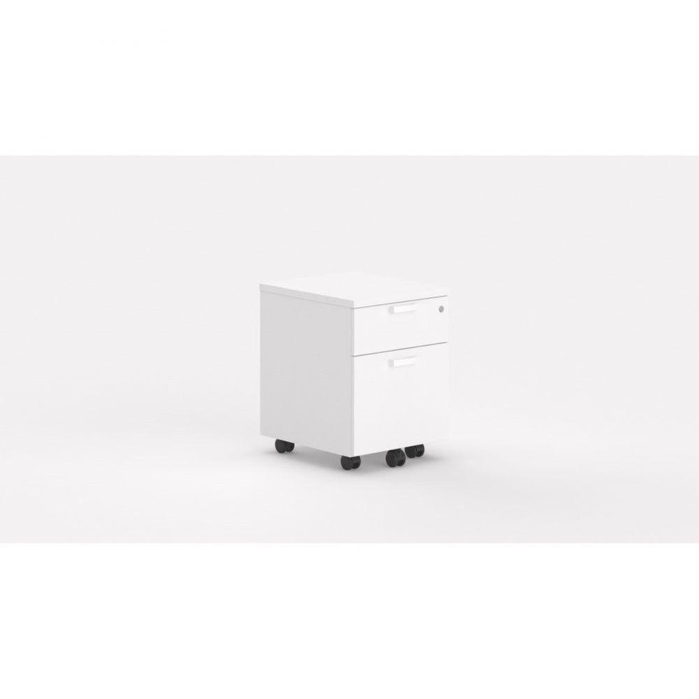 Caisson de bureau contemporain avec roulettes Opaline I / Blanc / 2 tiroirs