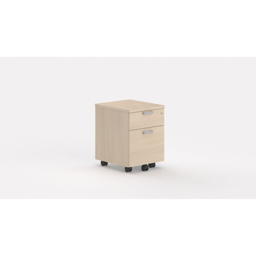 Caisson de bureau contemp.avec roulettes Opaline I / Chêne moyen / 2 tiroirs