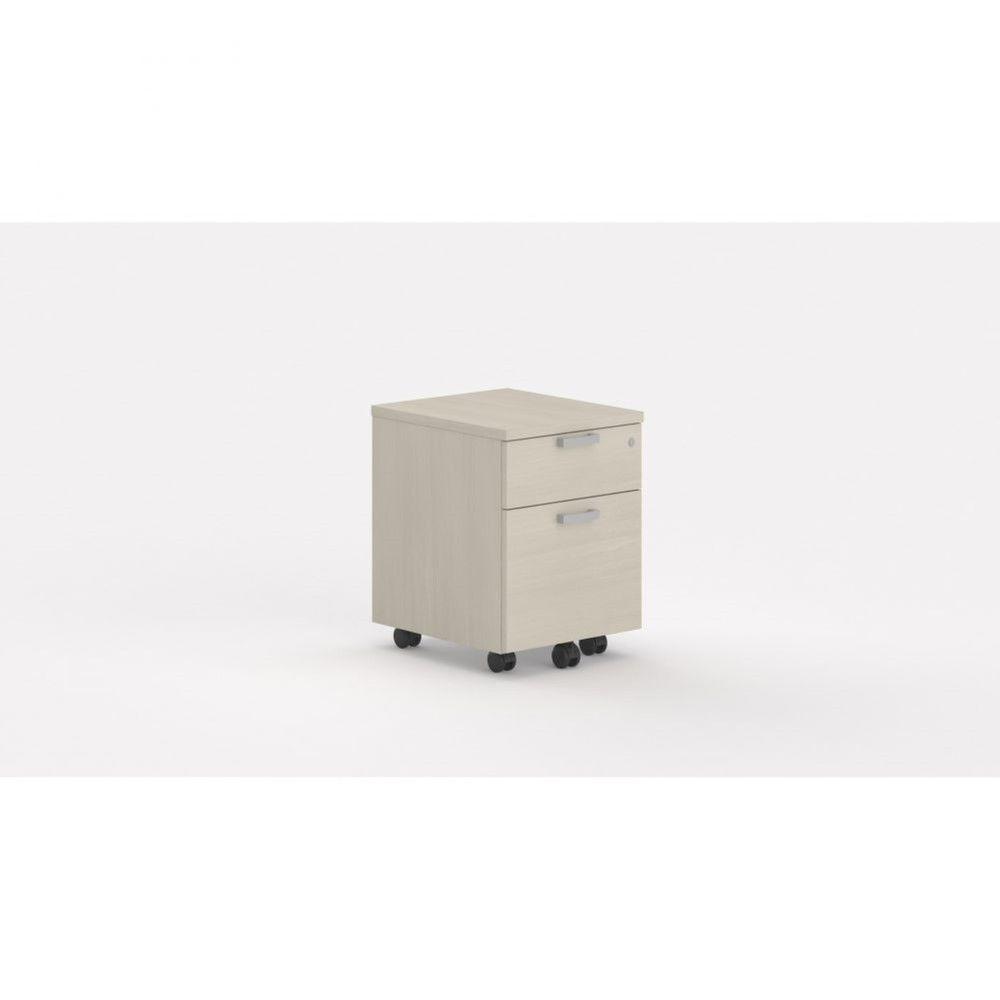 Caisson de bureau contemp.avec roulettes Opaline I / Acacia clair / 2 tiroirs