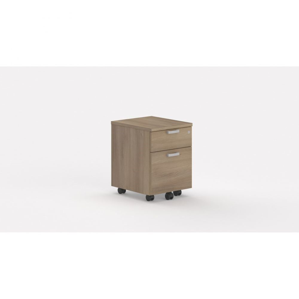 Caisson de bureau contemp.avec roulettes Opaline I / Acacia foncé / 2 tiroirs