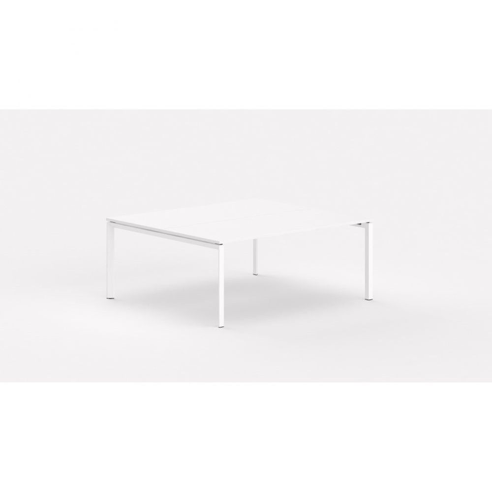 Bureau bench contemp.2 personnes Regis / Blanc / Longueur 100 cm / Pieds blanc