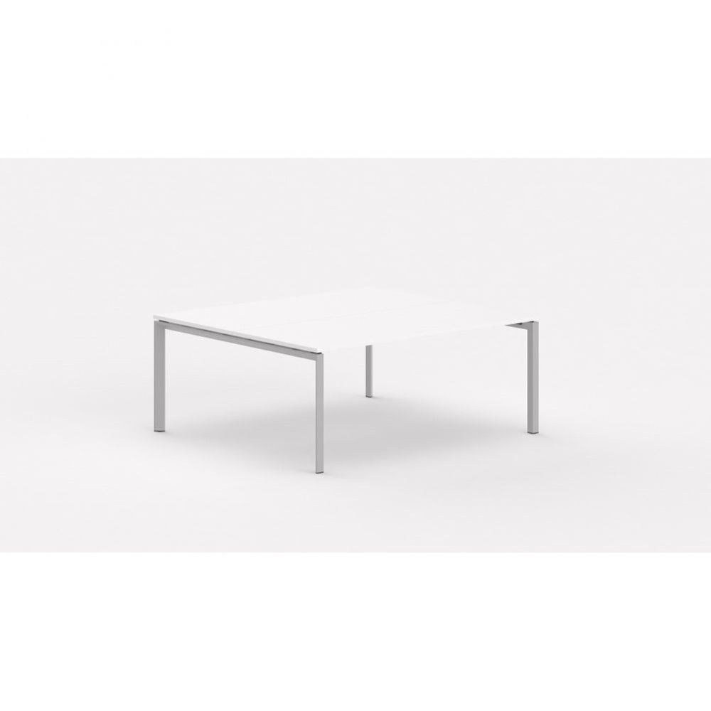 Bureau bench contemp.2 personnes Regis / Blanc / Longueur 140 cm / Pieds argenté