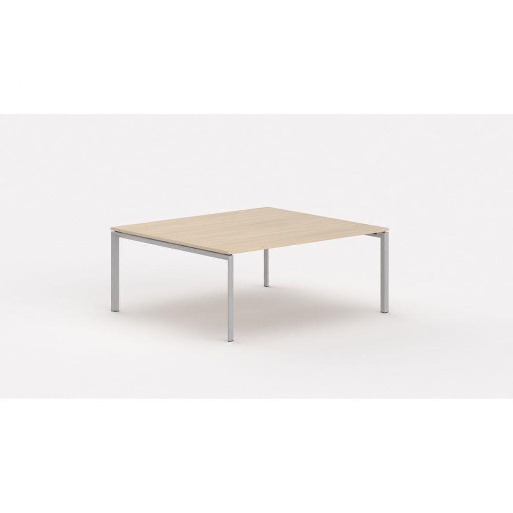 Bureau bench contemp.2 personnes Regis Chêne moyen Longueur 140 cm Pieds argenté