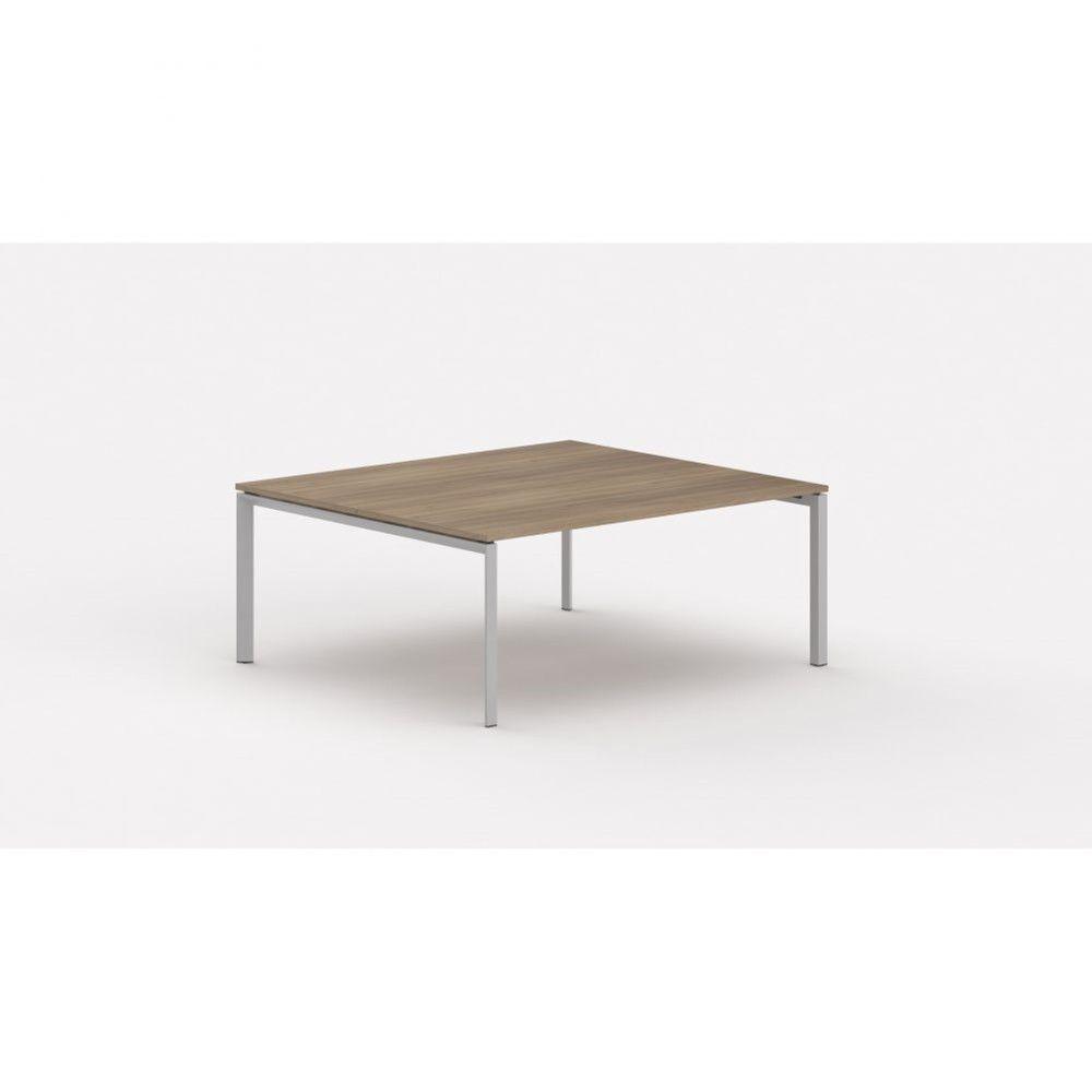 Bureau bench contemp.2 personnes Regis Acacia foncé L140 cm Pieds argenté